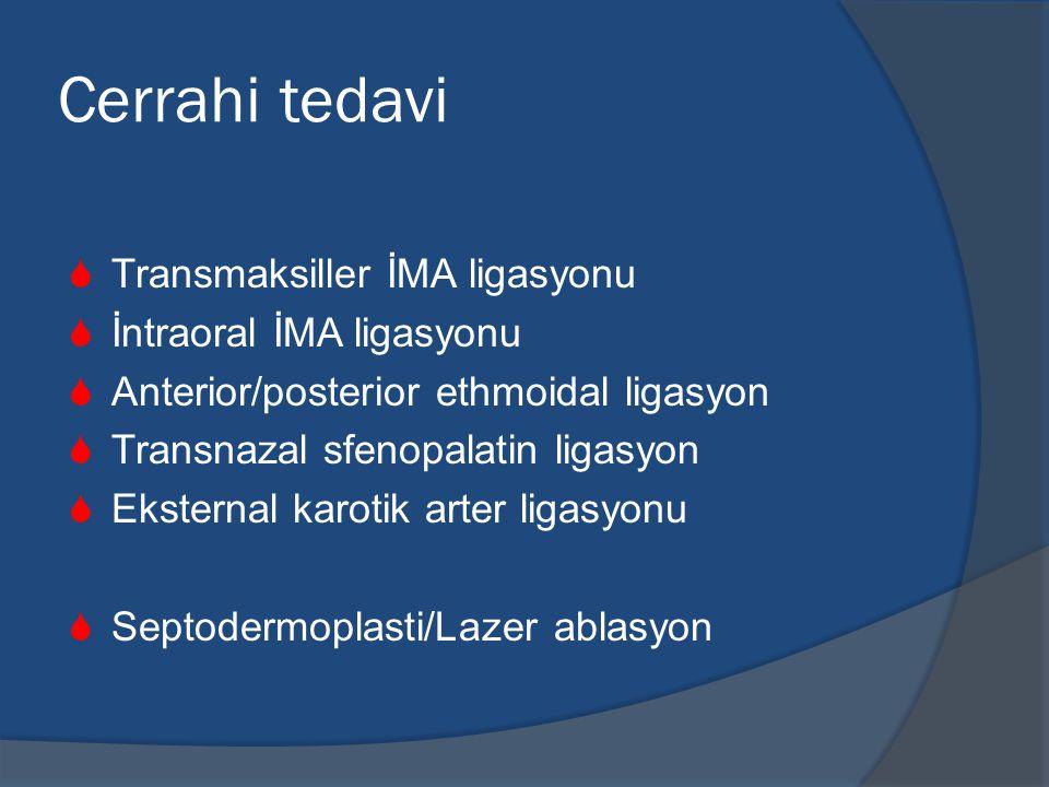 Cerrahi tedavi Transmaksiller İMA ligasyonu İntraoral İMA ligasyonu