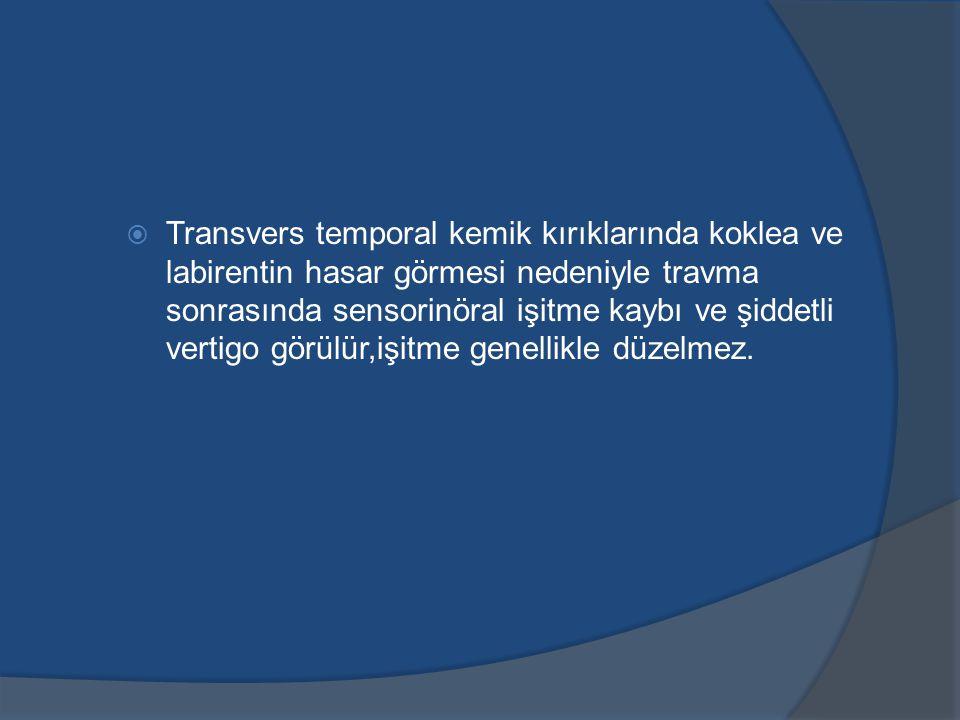 Transvers temporal kemik kırıklarında koklea ve labirentin hasar görmesi nedeniyle travma sonrasında sensorinöral işitme kaybı ve şiddetli vertigo görülür,işitme genellikle düzelmez.