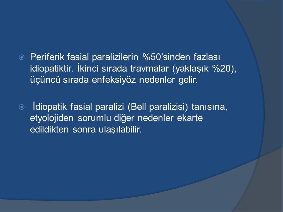 Periferik fasial paralizilerin %50'sinden fazlası idiopatiktir
