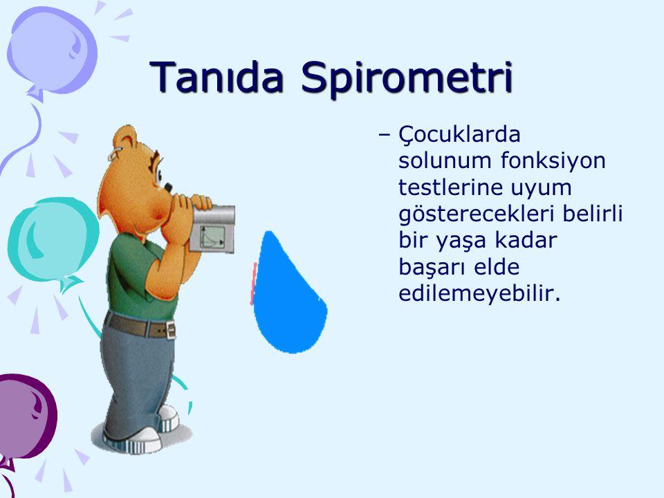 Tanıda Spirometri Çocuklarda solunum fonksiyon testlerine uyum gösterecekleri belirli bir yaşa kadar başarı elde edilemeyebilir.