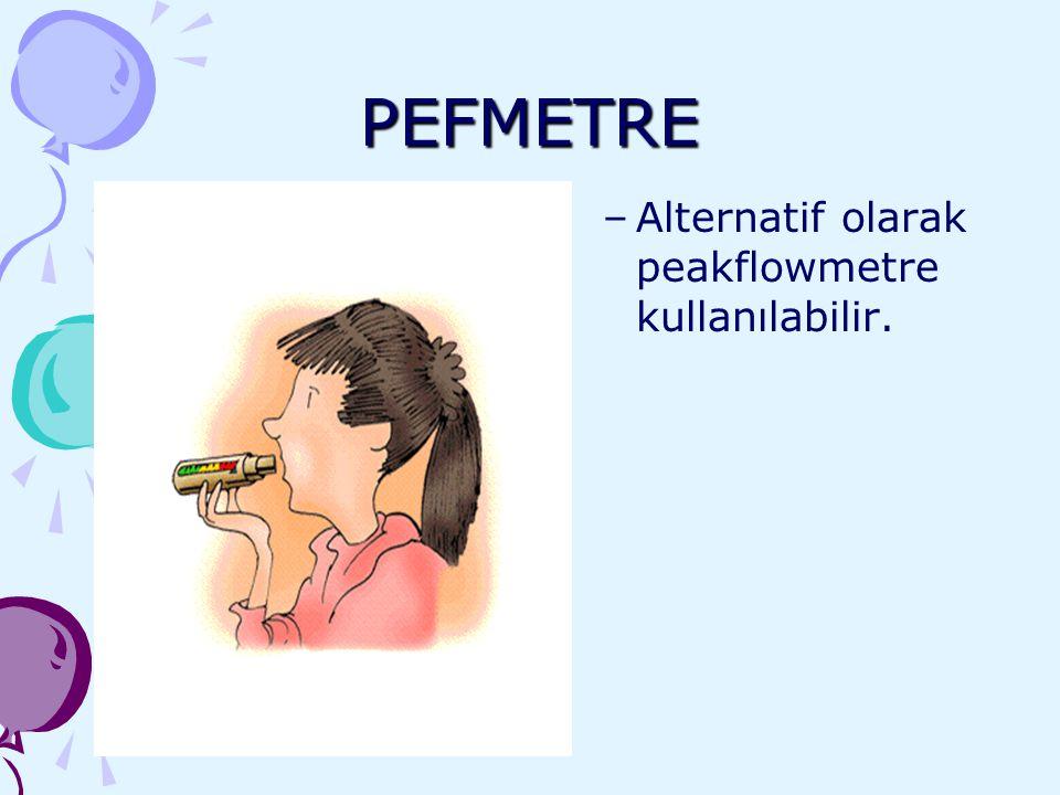 PEFMETRE Alternatif olarak peakflowmetre kullanılabilir.
