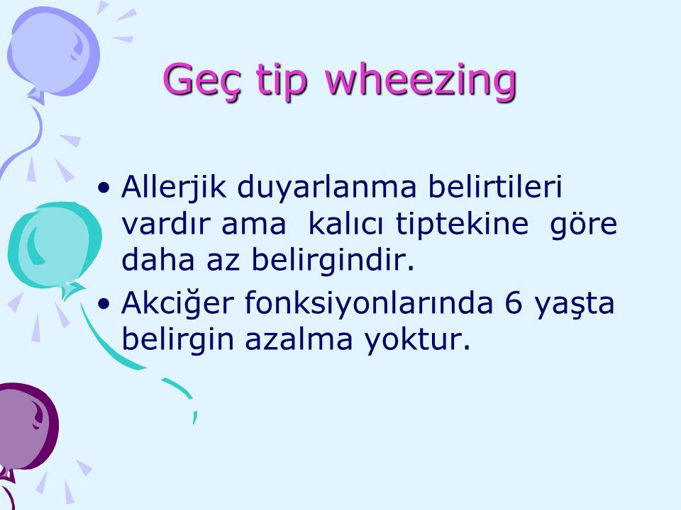 Geç tip wheezing Allerjik duyarlanma belirtileri vardır ama kalıcı tiptekine göre daha az belirgindir.
