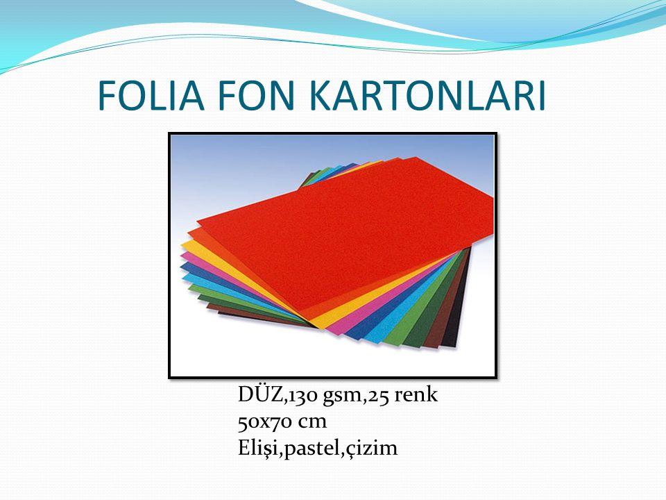 FOLIA FON KARTONLARI DÜZ,130 gsm,25 renk 50x70 cm Elişi,pastel,çizim