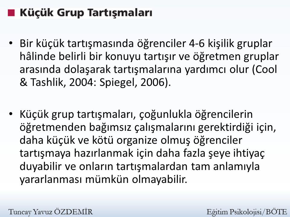 Bir küçük tartışmasında öğrenciler 4-6 kişilik gruplar hâlinde belirli bir konuyu tartışır ve öğretmen gruplar arasında dolaşarak tartışmalarına yardımcı olur (Cool & Tashlik, 2004: Spiegel, 2006).