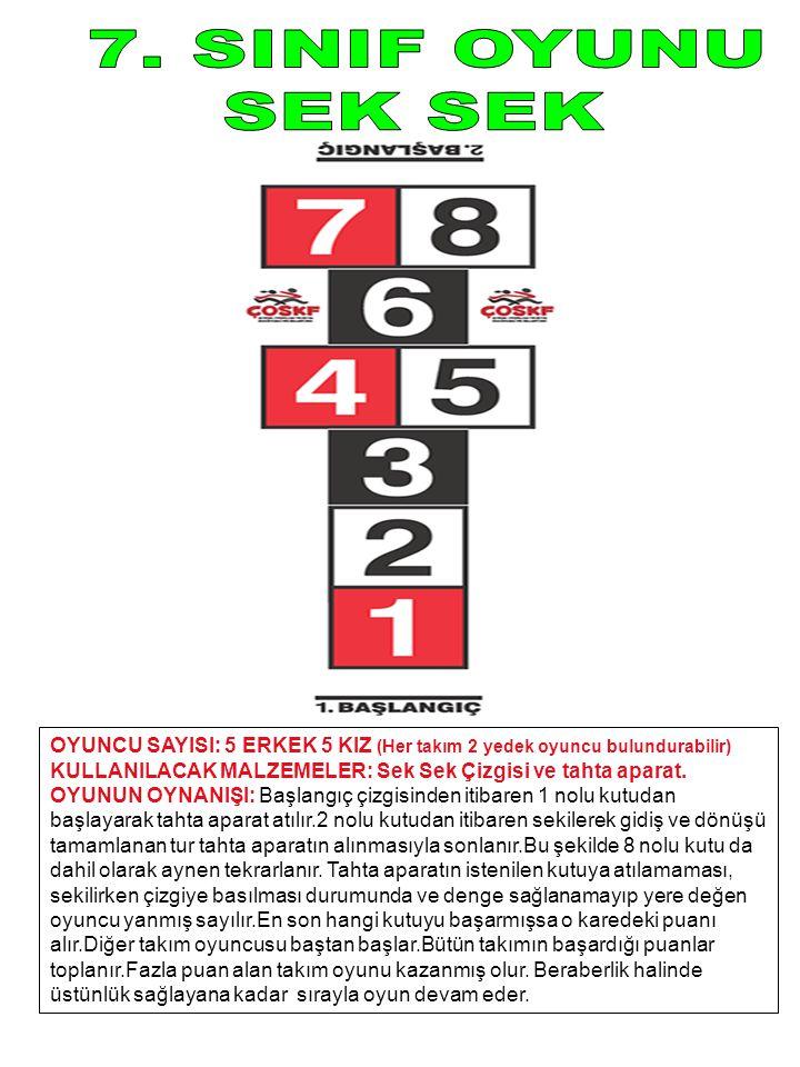 7. SINIF OYUNU SEK SEK. OYUNCU SAYISI: 5 ERKEK 5 KIZ (Her takım 2 yedek oyuncu bulundurabilir)