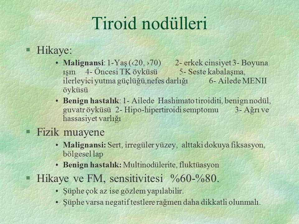 Tiroid nodülleri Hikaye: Fizik muayene