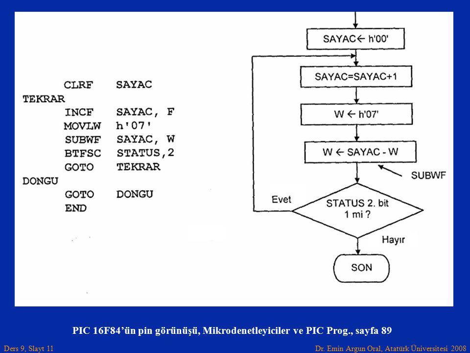 PIC 16F84'ün pin görünüşü, Mikrodenetleyiciler ve PIC Prog., sayfa 89
