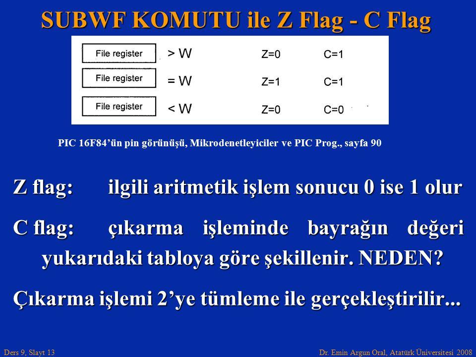 SUBWF KOMUTU ile Z Flag - C Flag