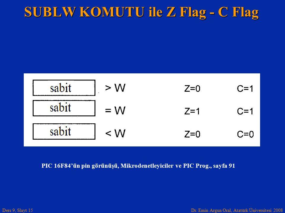 SUBLW KOMUTU ile Z Flag - C Flag