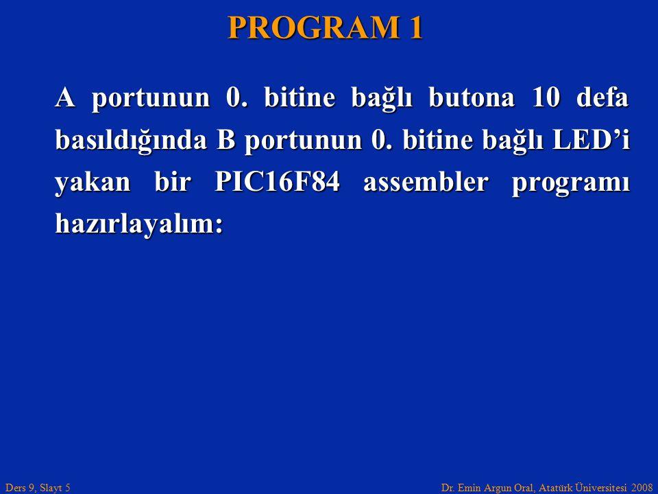 PROGRAM 1 A portunun 0. bitine bağlı butona 10 defa basıldığında B portunun 0.