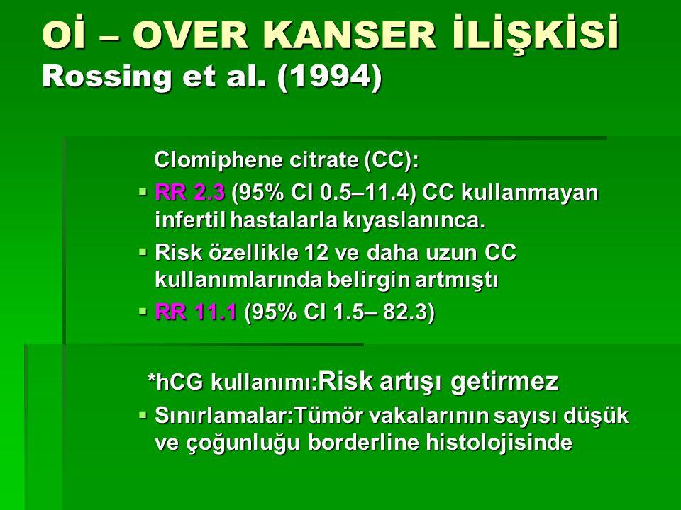 Oİ – OVER KANSER İLİŞKİSİ Rossing et al. (1994)