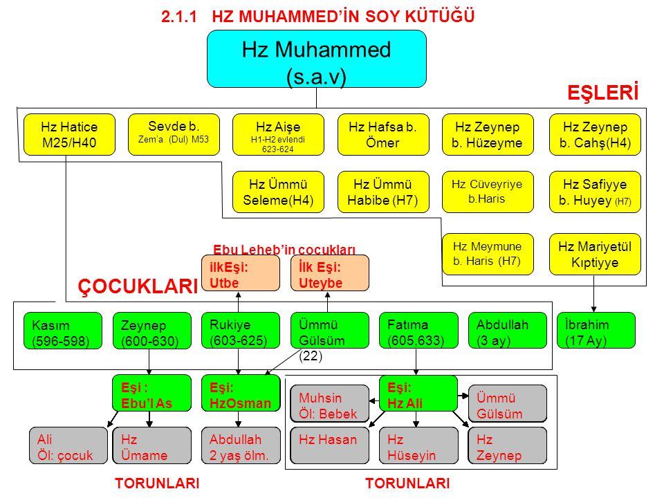 Hz Muhammed (s.a.v) EŞLERİ ÇOCUKLARI 2.1.1 HZ MUHAMMED'İN SOY KÜTÜĞÜ