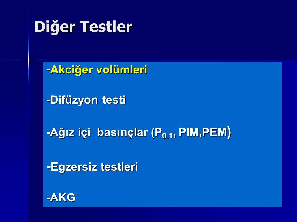 Diğer Testler -Egzersiz testleri -Akciğer volümleri -Difüzyon testi
