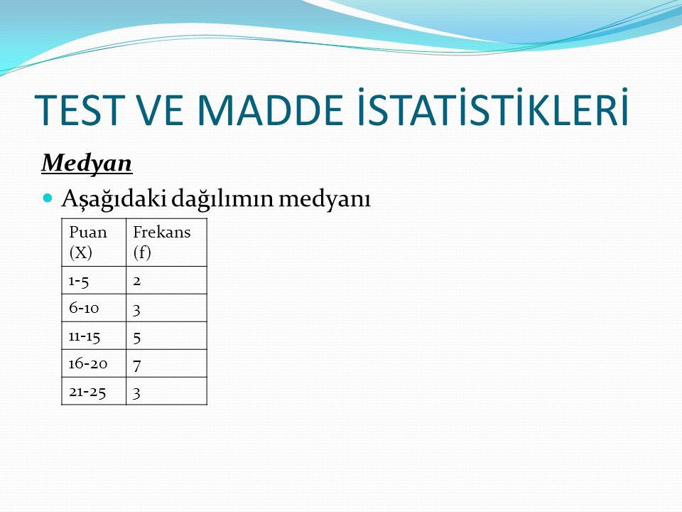 TEST VE MADDE İSTATİSTİKLERİ