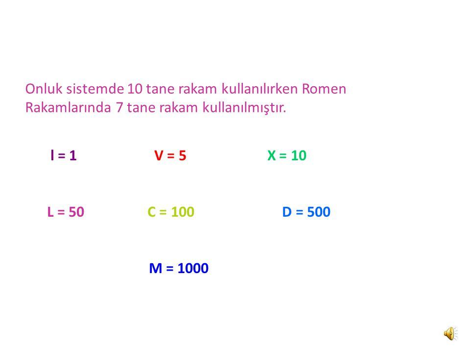 Onluk sistemde 10 tane rakam kullanılırken Romen Rakamlarında 7 tane rakam kullanılmıştır.