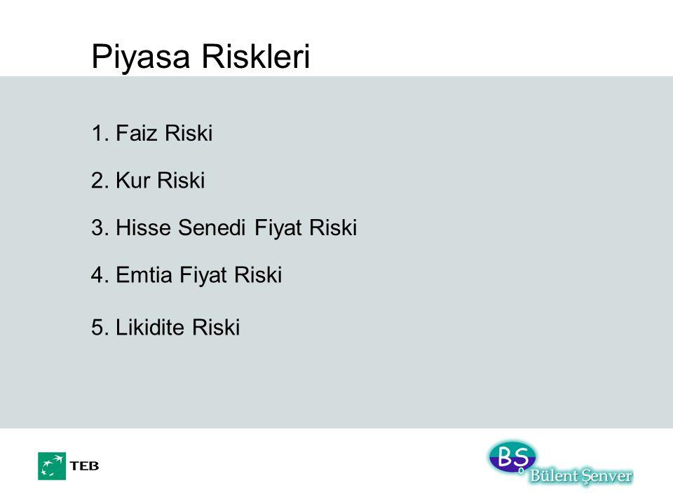 Piyasa Riskleri 1. Faiz Riski 2. Kur Riski 3. Hisse Senedi Fiyat Riski