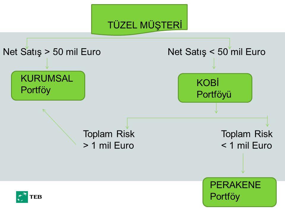 TÜZEL MÜŞTERİ Net Satış > 50 mil Euro. Net Satış < 50 mil Euro. KURUMSAL Portföy. KOBİ Portföyü.