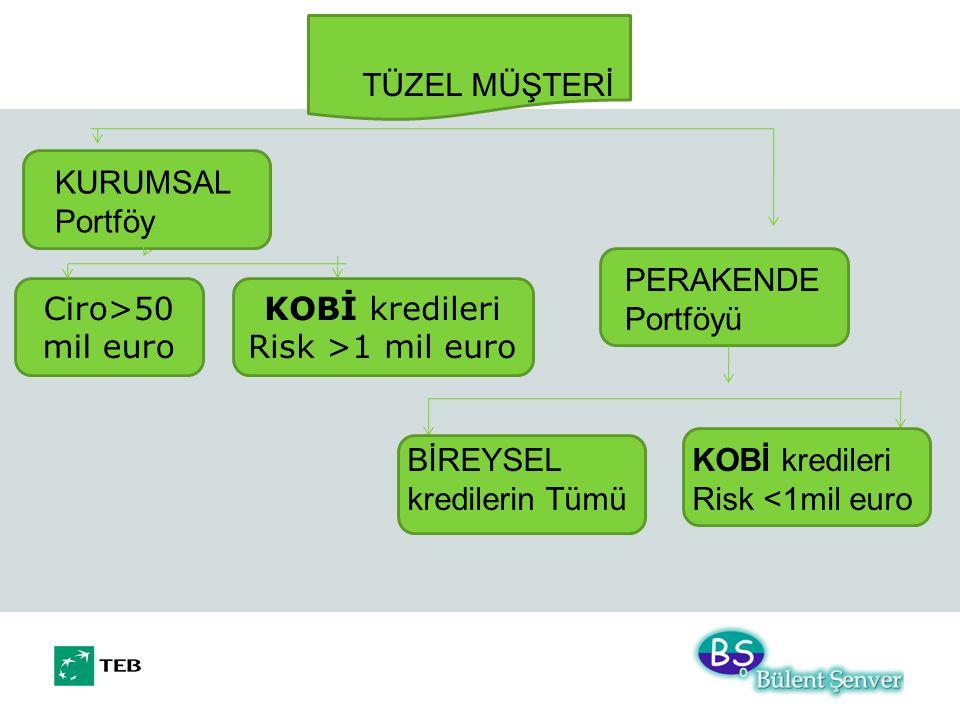 KOBİ kredileri Risk >1 mil euro