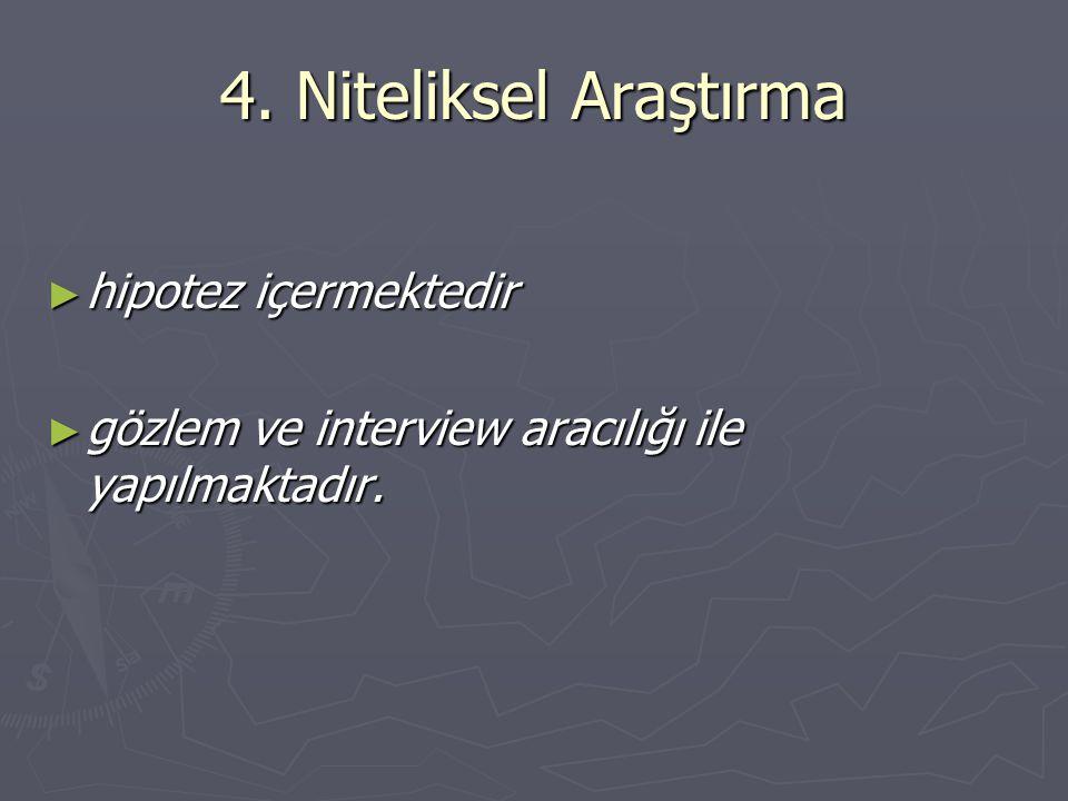 4. Niteliksel Araştırma hipotez içermektedir