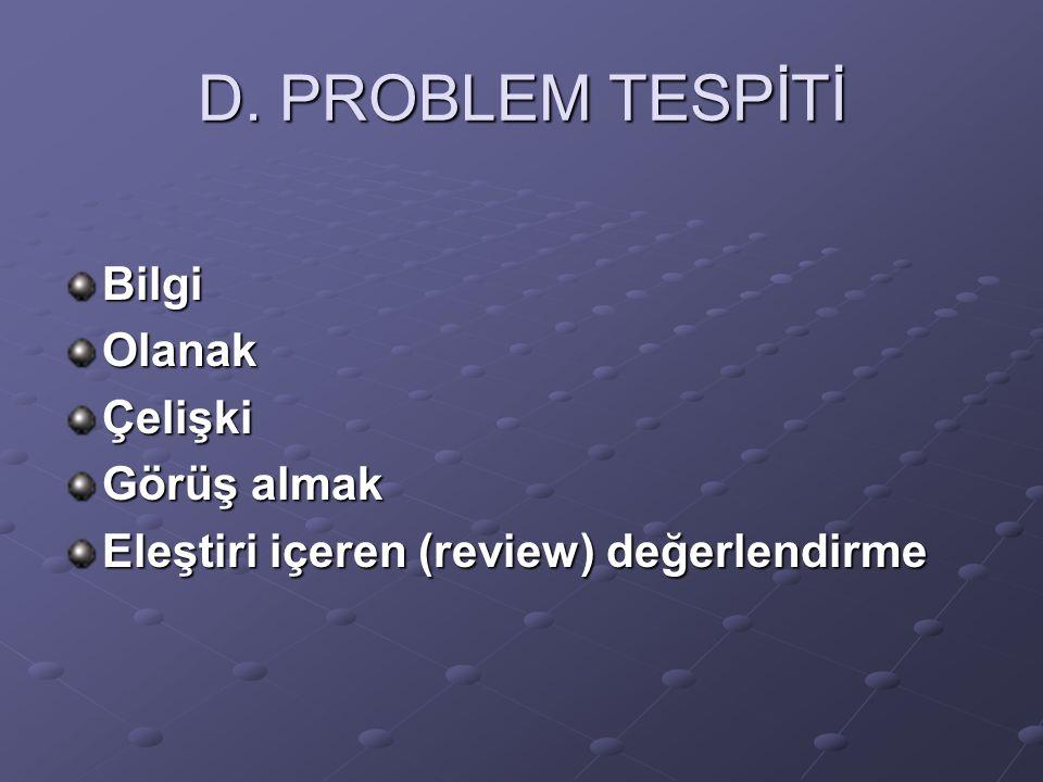 D. PROBLEM TESPİTİ Bilgi Olanak Çelişki Görüş almak
