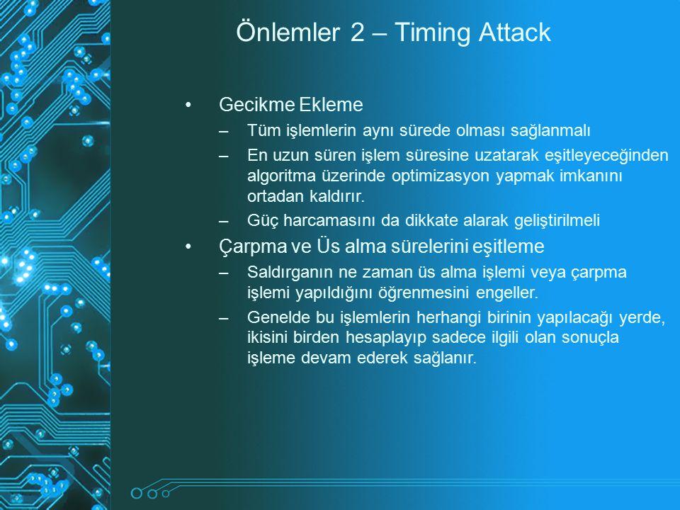 Önlemler 2 – Timing Attack
