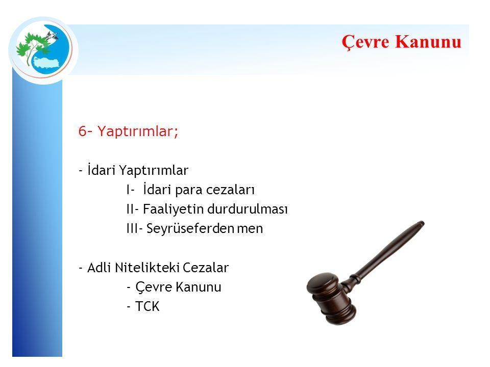 Çevre Kanunu 6- Yaptırımlar; - İdari Yaptırımlar
