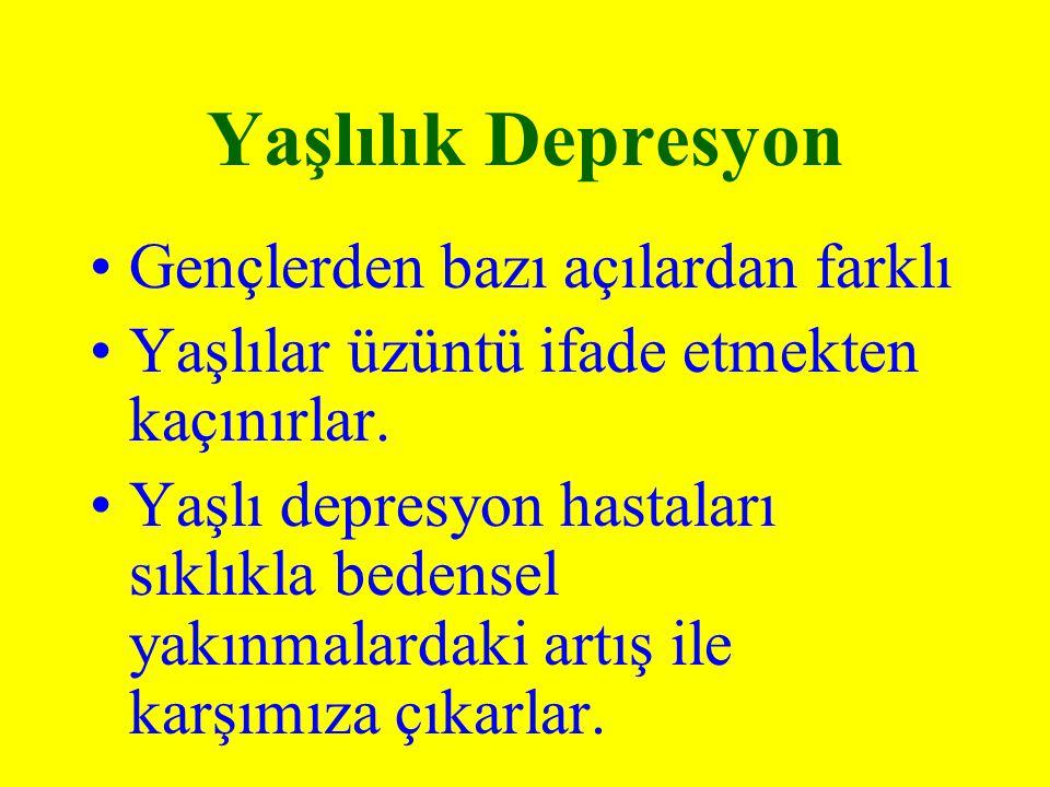 Yaşlılık Depresyon Gençlerden bazı açılardan farklı