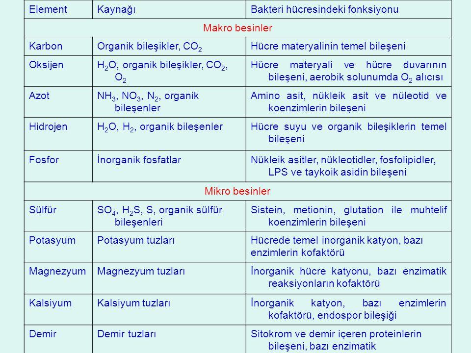 Element Kaynağı. Bakteri hücresindeki fonksiyonu. Makro besinler. Karbon. Organik bileşikler, CO2.