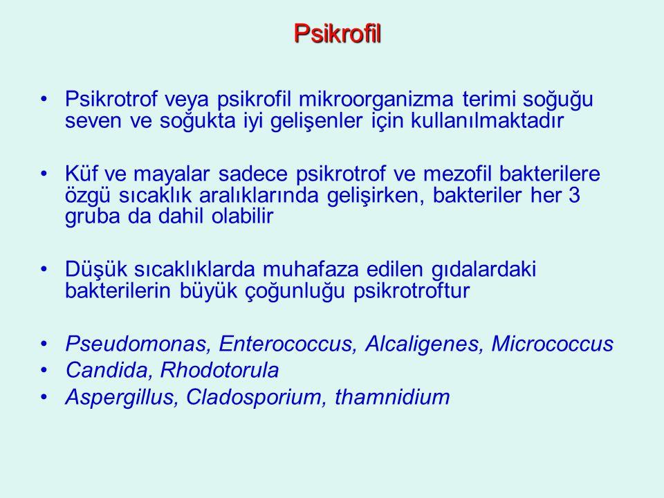 Psikrofil Psikrotrof veya psikrofil mikroorganizma terimi soğuğu seven ve soğukta iyi gelişenler için kullanılmaktadır.