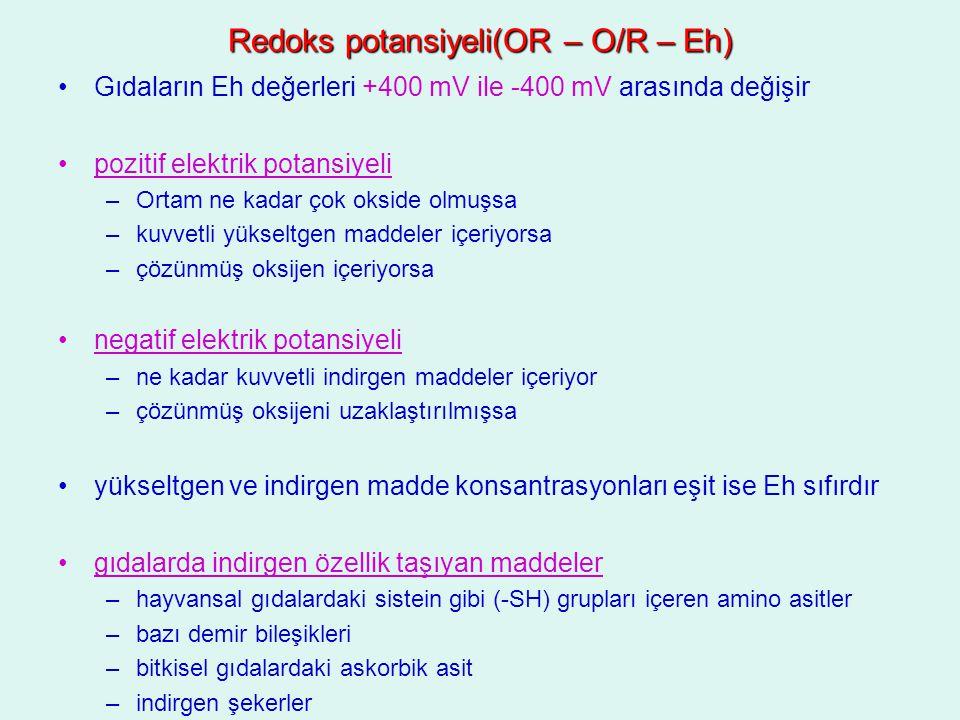 Redoks potansiyeli(OR – O/R – Eh)