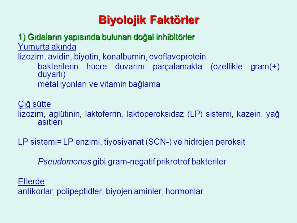 Biyolojik Faktörler 1) Gıdaların yapısında bulunan doğal inhibitörler