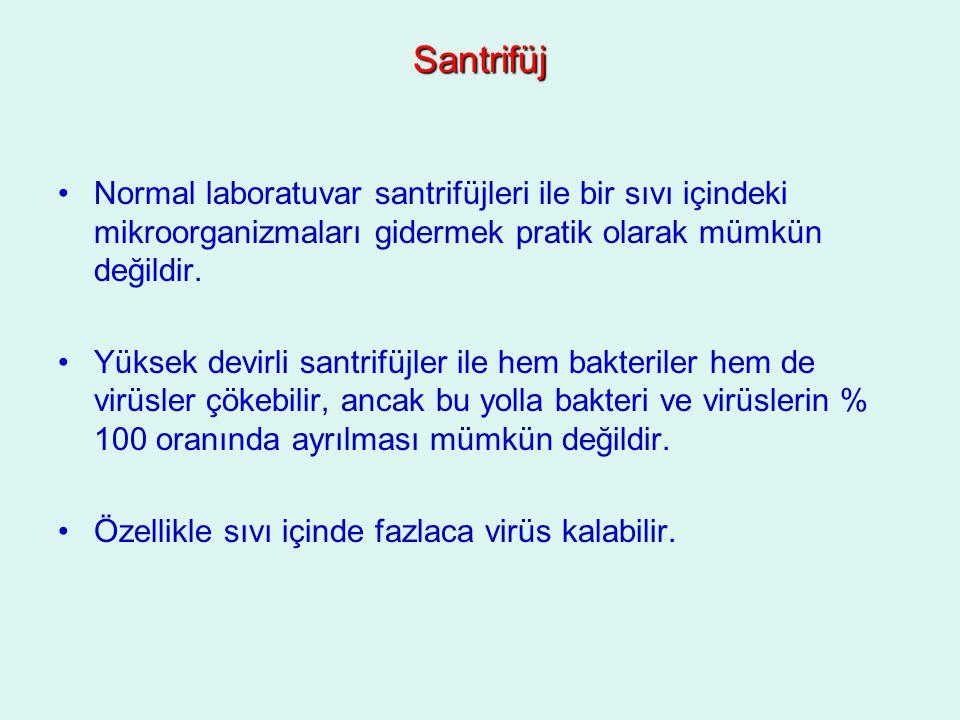 Santrifüj Normal laboratuvar santrifüjleri ile bir sıvı içindeki mikroorganizmaları gidermek pratik olarak mümkün değildir.