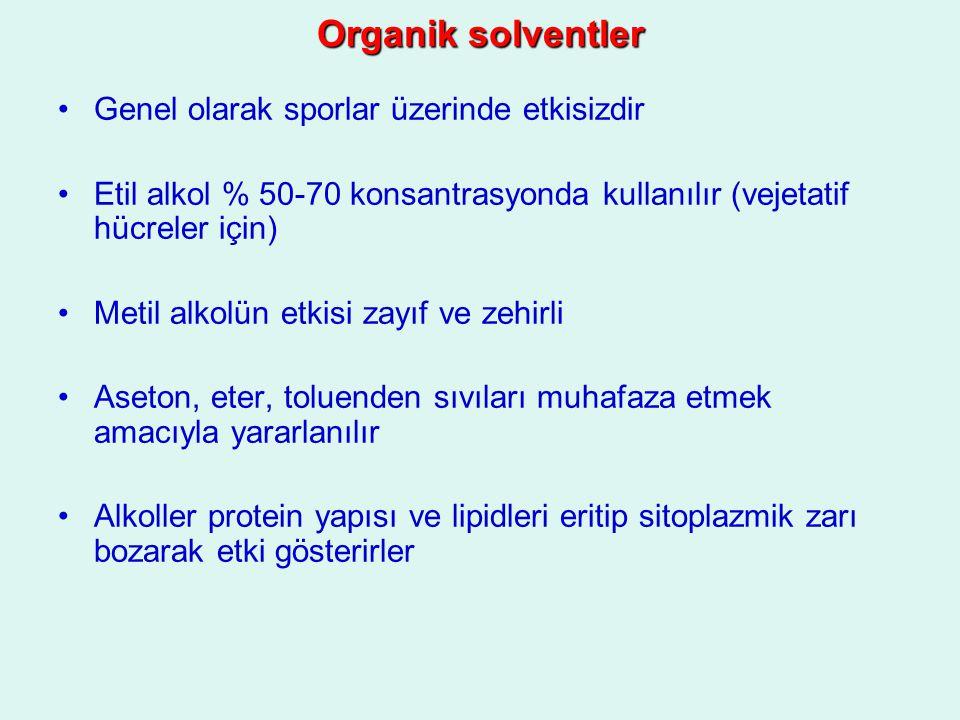 Organik solventler Genel olarak sporlar üzerinde etkisizdir