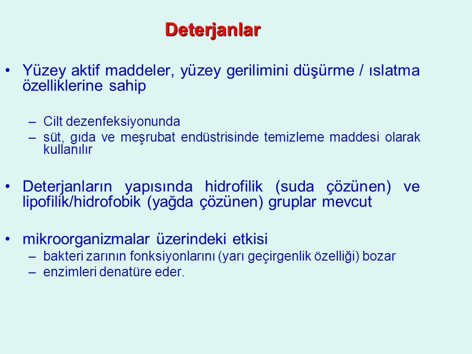 Deterjanlar Yüzey aktif maddeler, yüzey gerilimini düşürme / ıslatma özelliklerine sahip. Cilt dezenfeksiyonunda.