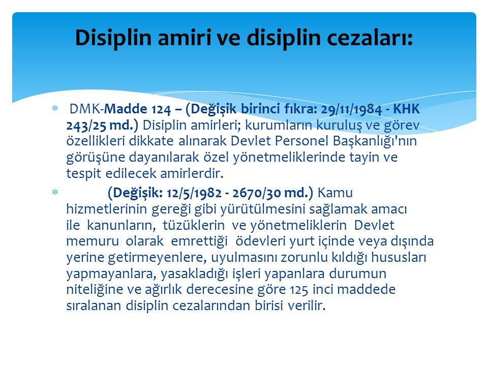 Disiplin amiri ve disiplin cezaları:
