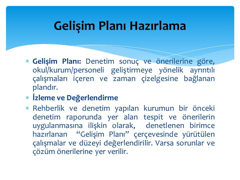 Gelişim Planı Hazırlama