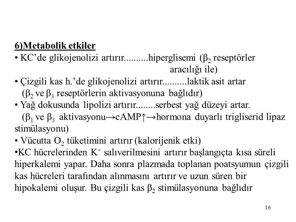 6)Metabolik etkiler • KC'de glikojenolizi artırır..........hiperglisemi (β2 reseptörler. aracılığı ile)