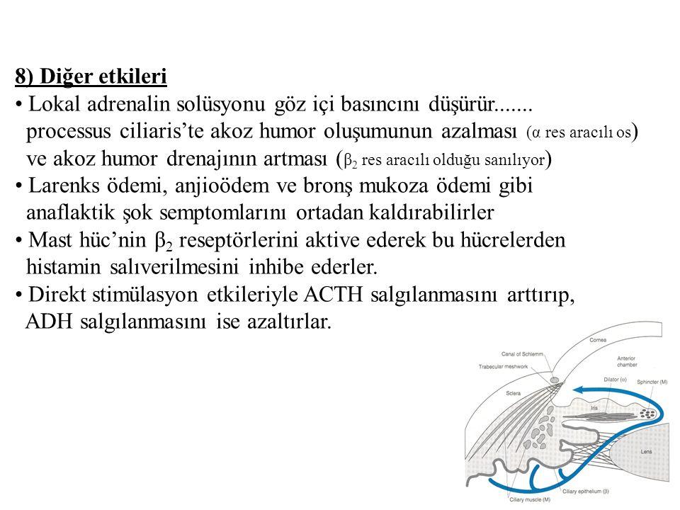 8) Diğer etkileri • Lokal adrenalin solüsyonu göz içi basıncını düşürür.......