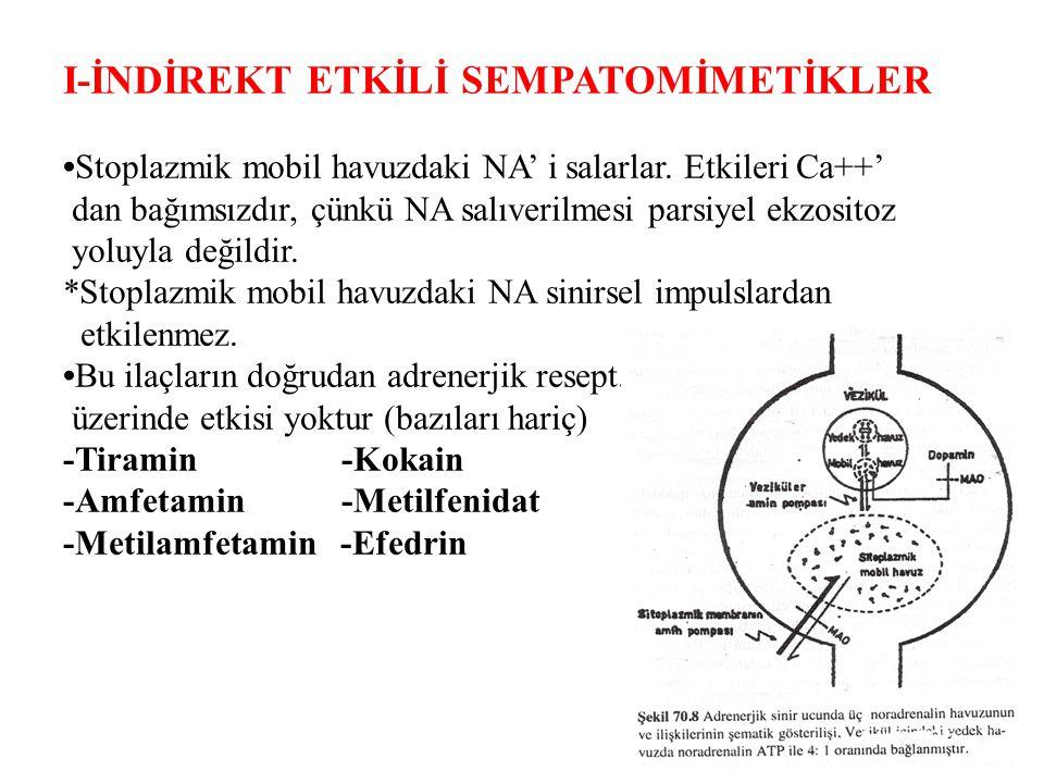 I-İNDİREKT ETKİLİ SEMPATOMİMETİKLER