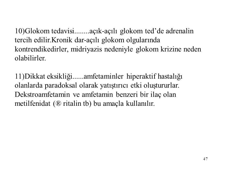 10)Glokom tedavisi........açık-açılı glokom ted'de adrenalin