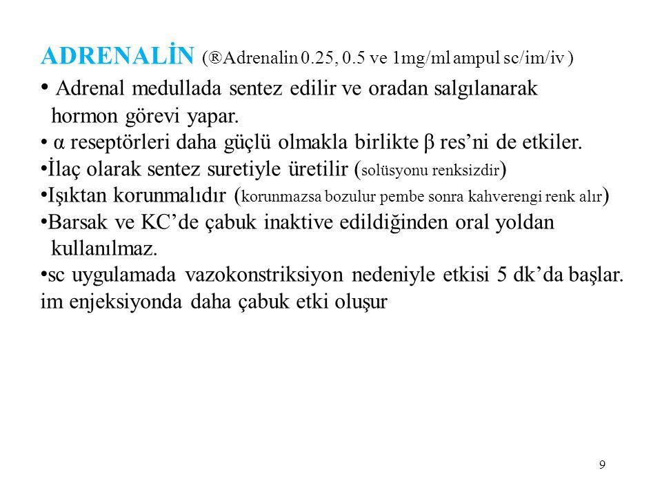 ADRENALİN (®Adrenalin 0.25, 0.5 ve 1mg/ml ampul sc/im/iv )