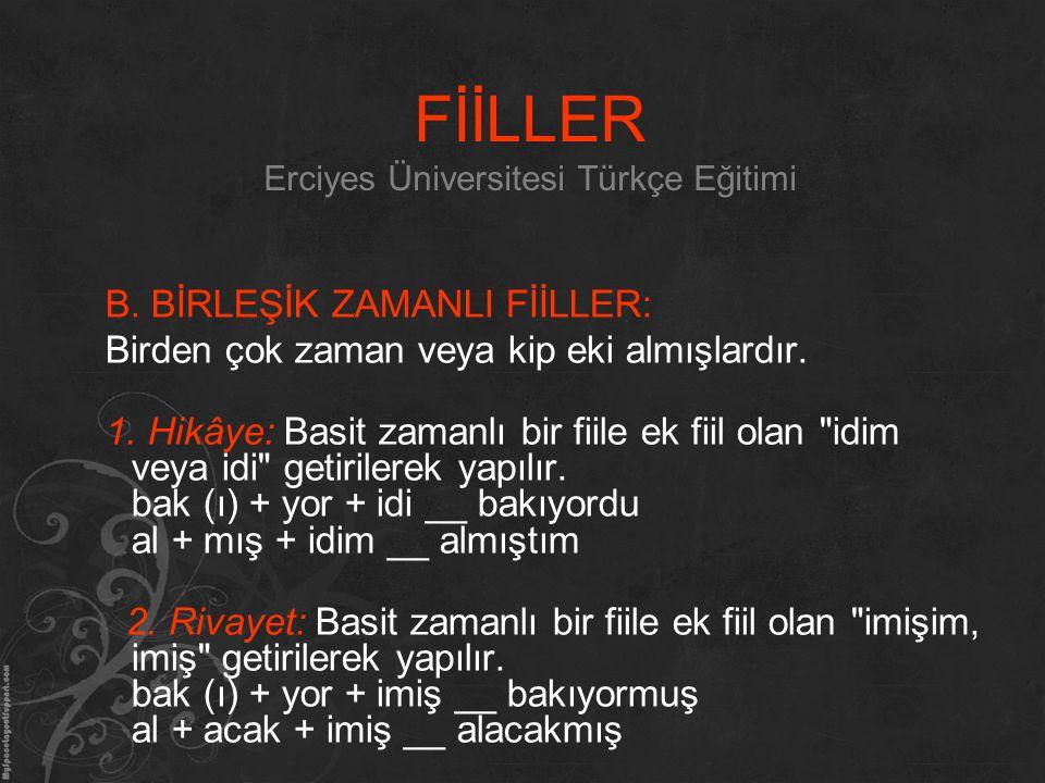 FİİLLER Erciyes Üniversitesi Türkçe Eğitimi
