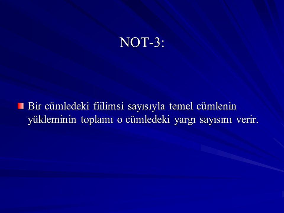 NOT-3: Bir cümledeki fiilimsi sayısıyla temel cümlenin yükleminin toplamı o cümledeki yargı sayısını verir.