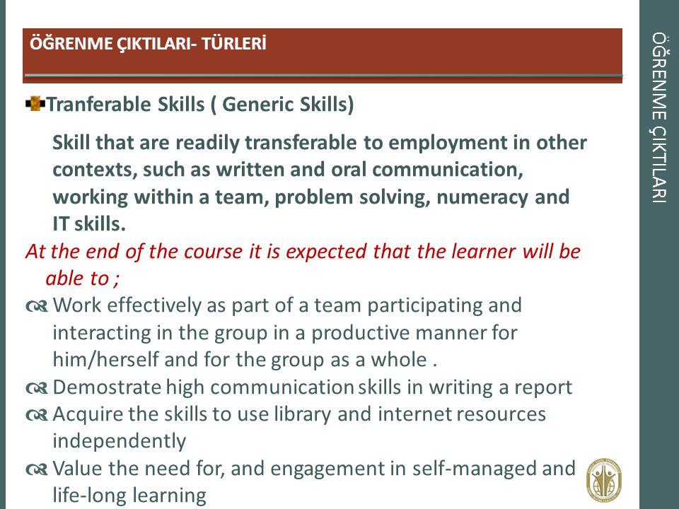 Tranferable Skills ( Generic Skills)