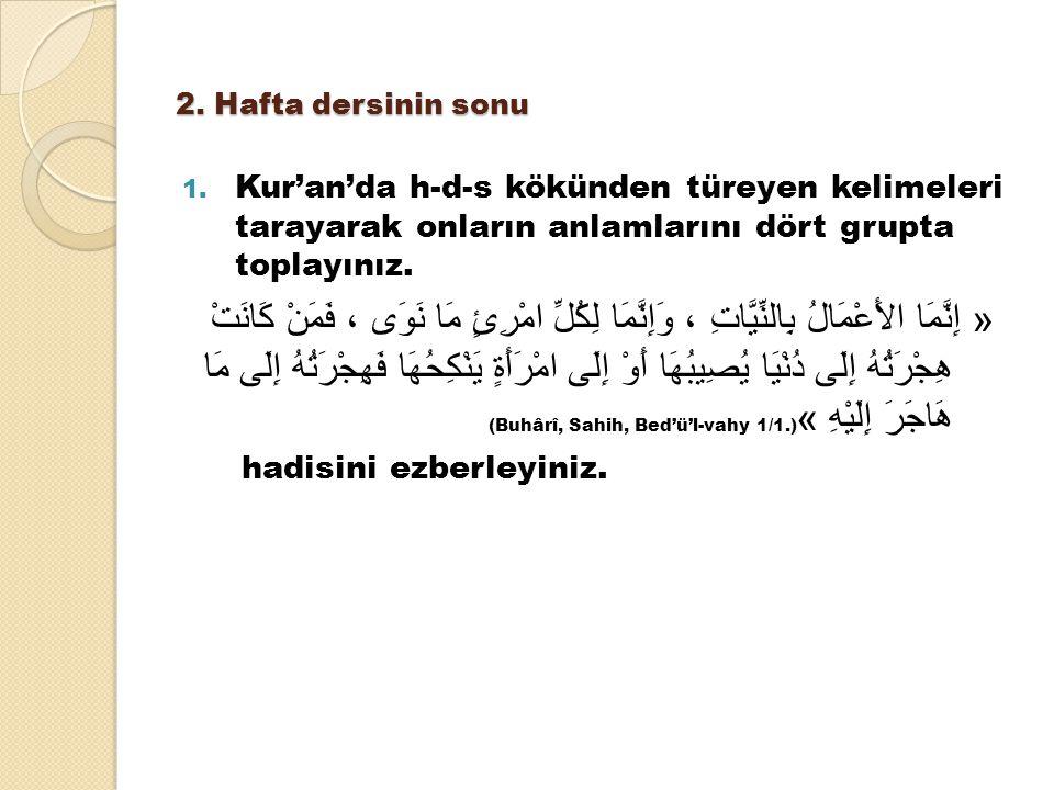 2. Hafta dersinin sonu Kur'an'da h-d-s kökünden türeyen kelimeleri tarayarak onların anlamlarını dört grupta toplayınız.