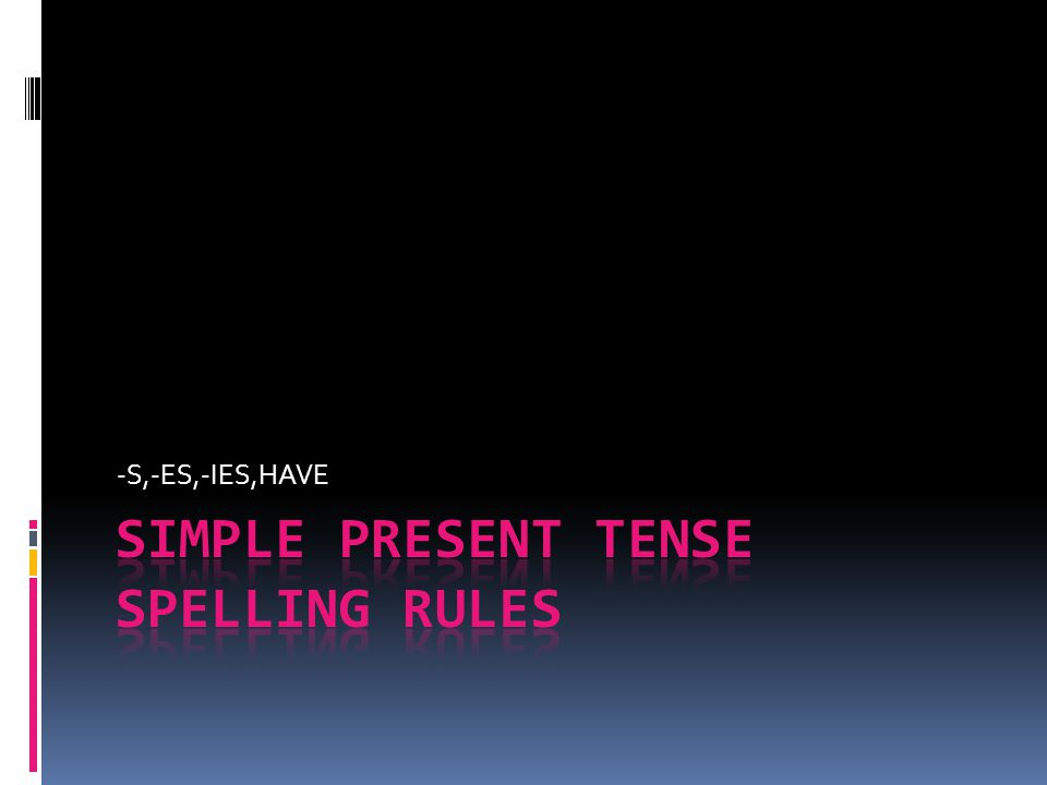 SIMPLE PRESENT TENSE SPELLING RULES