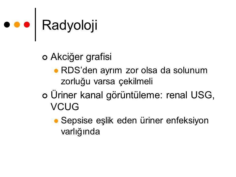 Radyoloji Akciğer grafisi Üriner kanal görüntüleme: renal USG, VCUG