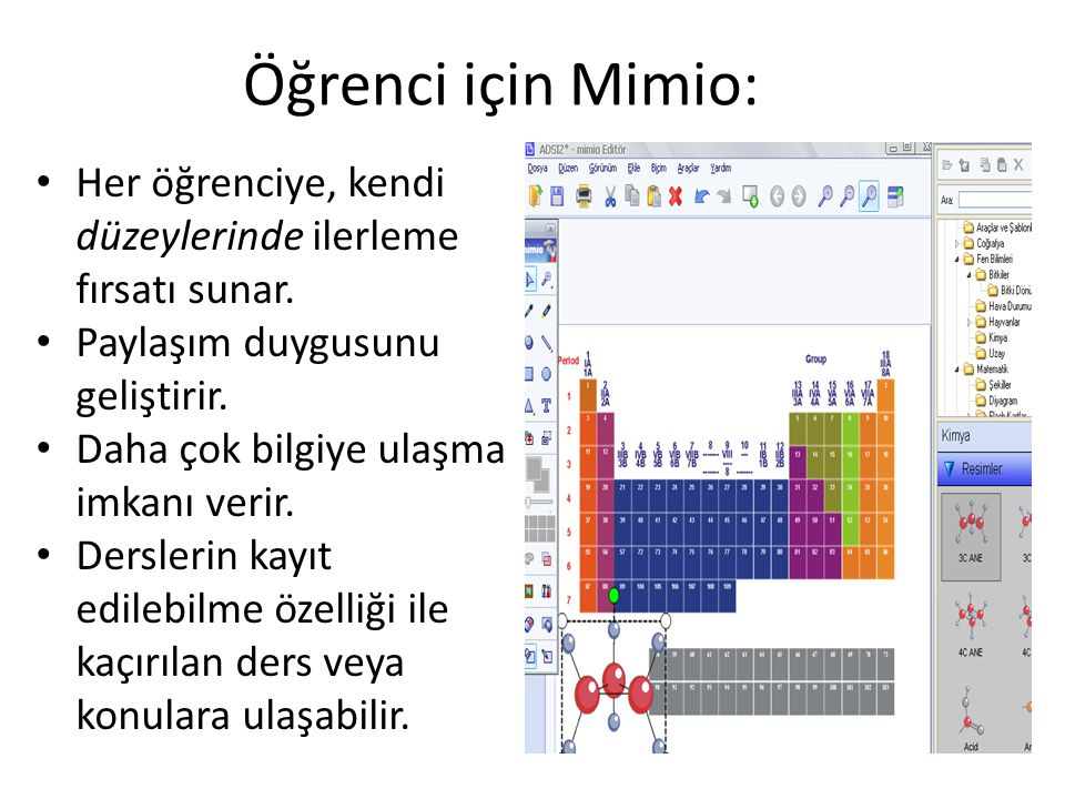 Öğrenci için Mimio: Her öğrenciye, kendi düzeylerinde ilerleme fırsatı sunar. Paylaşım duygusunu geliştirir.