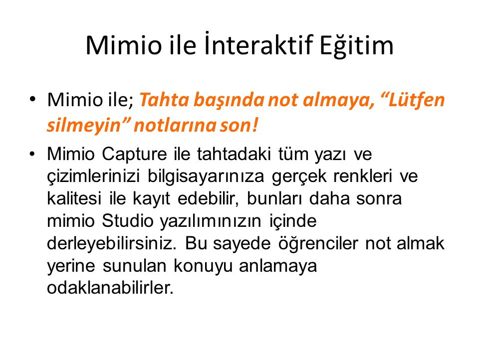 Mimio ile İnteraktif Eğitim