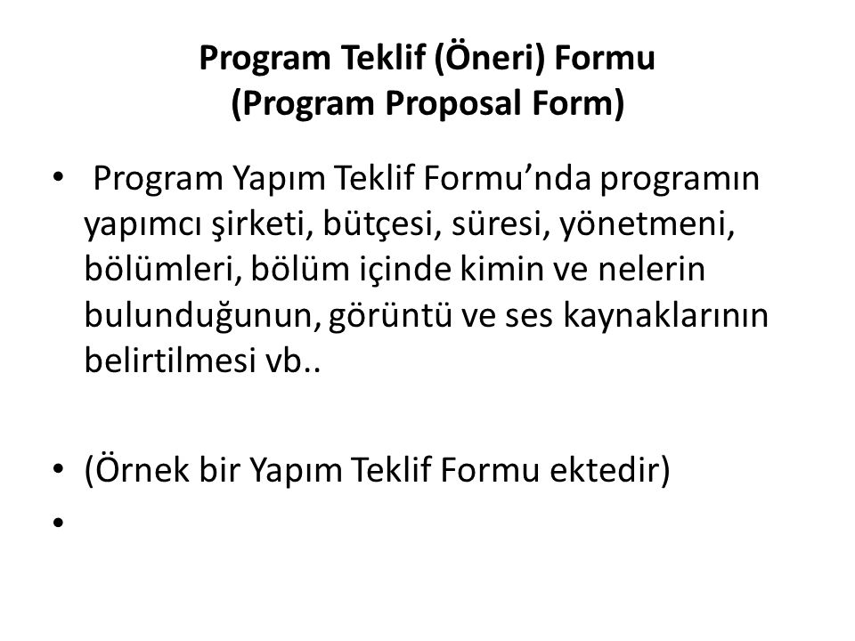 Program Teklif (Öneri) Formu (Program Proposal Form)